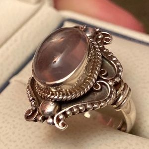 Vintage Pink Chalcedony Ring 925